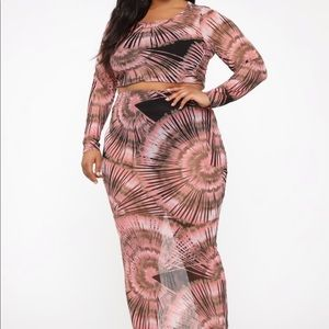 Sheer All Over Print Coral Two Piece Combo Set